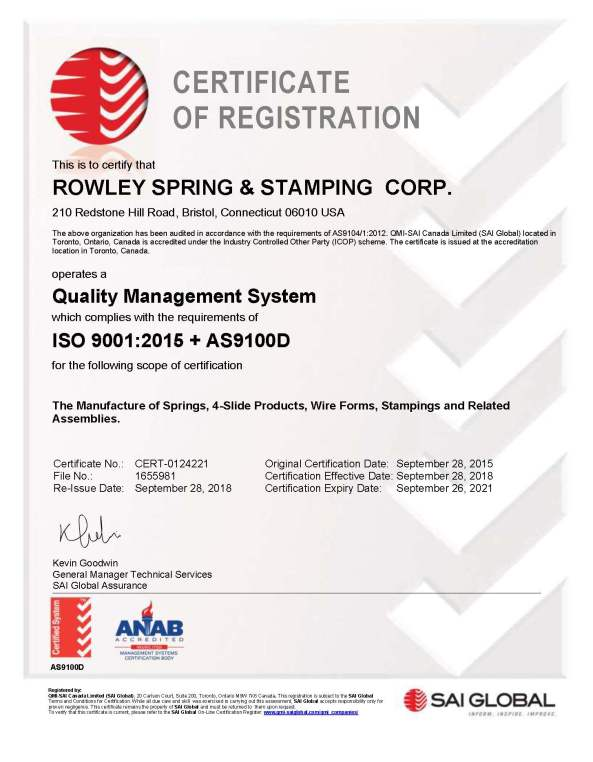 ISO AS9100D Rowley Spring Cert